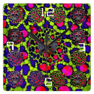 Skull and Cheetah Bling Pattern Clocks