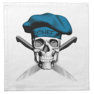 Skull and Chef Knives: Blue Hat Napkins