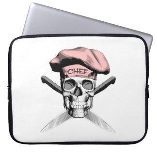 Skull and Chef Knives: Pink Hat Computer Sleeves