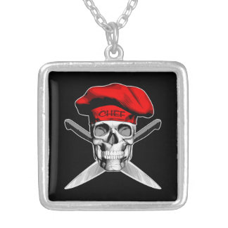 Skull and Chef Knives: Red Hat Square Pendant Necklace