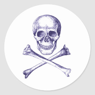 Skull and Cross Bones - Blue Stickers