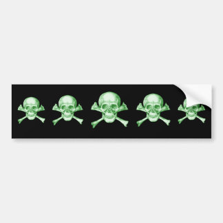 Skull and Cross Bones Green Bumper Sticker