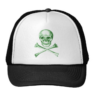 Skull and Cross Bones - Green Trucker Hat