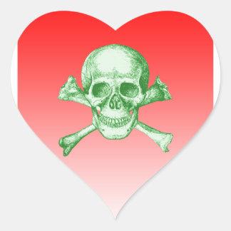 Skull and Cross Bones Green Heart Sticker