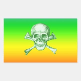 Skull and Cross Bones Green Rectangular Sticker