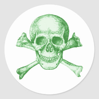 Skull and Cross Bones Green Round Sticker