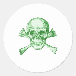 Skull and Cross Bones - Green Round Sticker