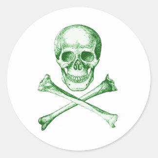 Skull and Cross Bones - Green Stickers