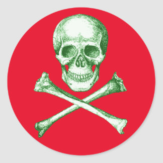 Skull and Cross Bones Grey Round Sticker