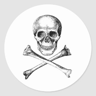 Skull and Cross Bones - Grey Round Sticker