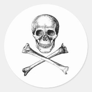 Skull and Cross Bones - Grey Round Sticker