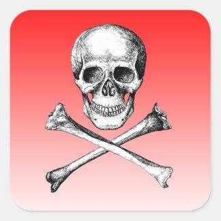 Skull and Cross Bones Grey Square Sticker