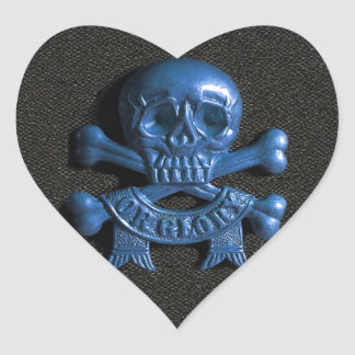 Skull and Cross bones Heart Sticker