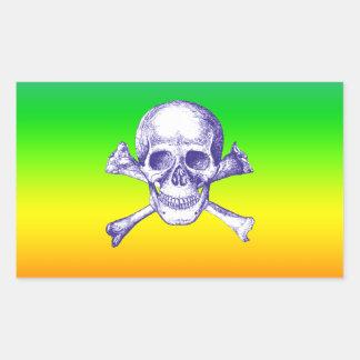 Skull and Cross Bones in Blue Rectangular Sticker