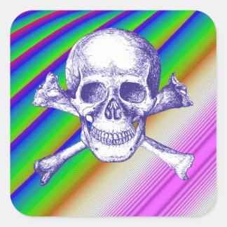 Skull and Cross Bones in Blue Square Sticker