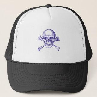 Skull and Cross Bones in Blue Trucker Hat