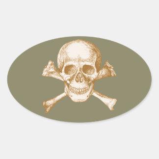 Skull and Cross Bones in Orange Oval Sticker