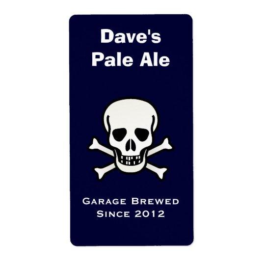 Skull and Cross Bones Mini Beer Label Shipping Label