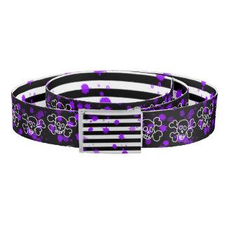 Skull And Cross Bones Print Belt Purple