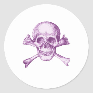 Skull and Cross Bones - Purple Classic Round Sticker