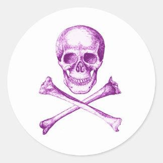 Skull and Cross Bones - Purple Round Sticker