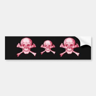 Skull and Cross Bones Red Bumper Sticker
