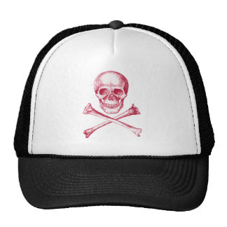 Skull and Cross Bones - Red Mesh Hat