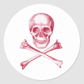 Skull and Cross Bones - Red Round Sticker