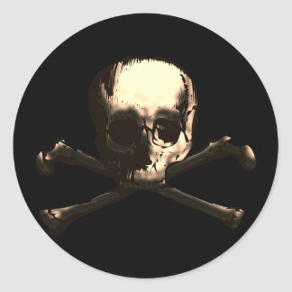 SKULL AND CROSS BONES ROUND STICKER