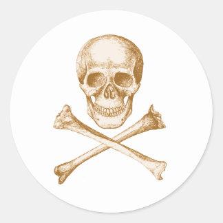 Skull and Cross Bones - Sepia Round Sticker