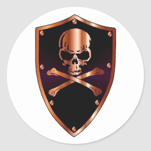 Skull and cross bones shield round sticker