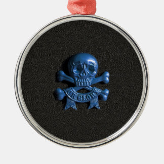 Skull and Cross bones Silver-Colored Round Decoration