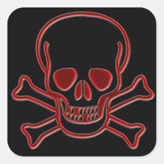 Skull and Cross Bones Square Stickers