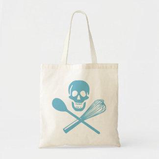 Skull and Cross Whisk Cornflour Blue Budget Tote Bag