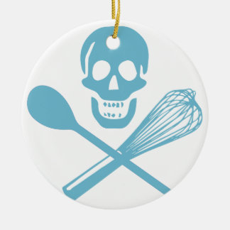 Skull and Cross Whisk Cornflour Blue Christmas Ornament
