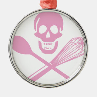 Skull and Cross Whisk Pink Christmas Ornament