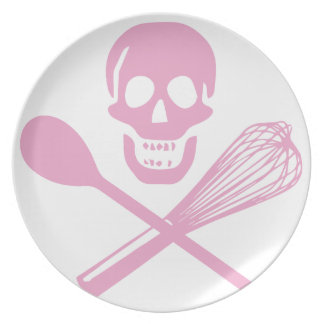 Skull and Cross Whisk Pink Dinner Plates