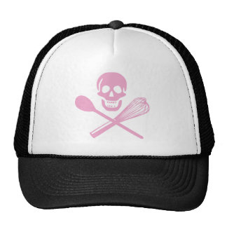 Skull and Cross Whisk Pink Mesh Hats