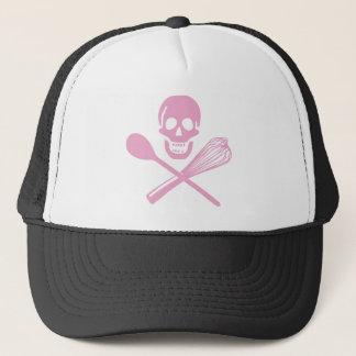 Skull and Cross Whisk Pink Trucker Hat