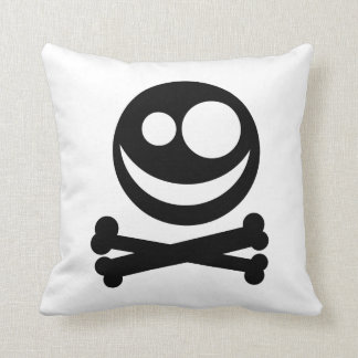 Skull and Crossbones. Black and White. Cushion