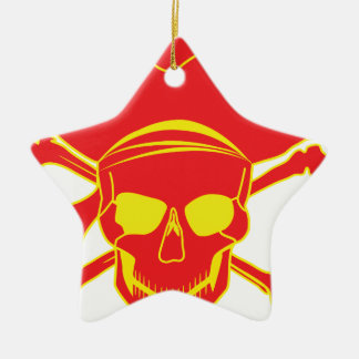 Skull and Crossbones Ceramic Star Decoration