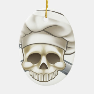 Skull and Crossbones Chef Christmas Ornament