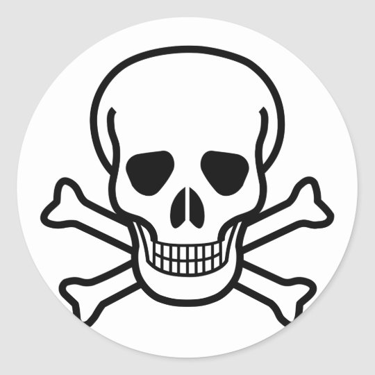 Skull and Crossbones death symbol Classic Round Sticker