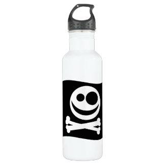 Skull and Crossbones Flag. Black and White. 710 Ml Water Bottle