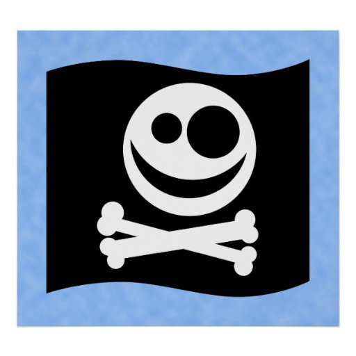 Skull and Crossbones Flag. Black and White. Print   Zazzle