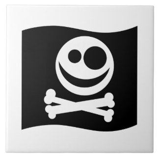 Skull and Crossbones Flag. Black and White. Tile