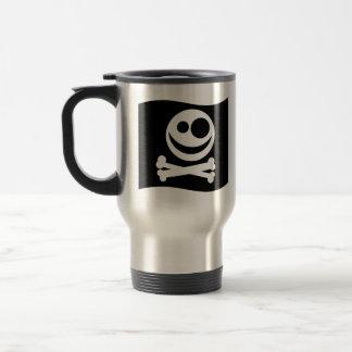 Skull and Crossbones Flag. Black and White. Travel Mug