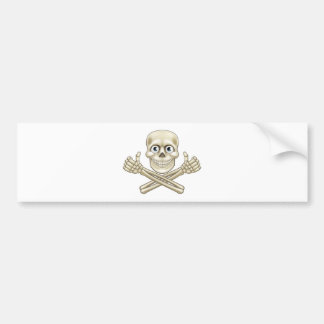 Skull and Crossbones Giving Thumbs Up Bumper Sticker