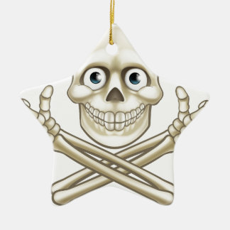 Skull and Crossbones Giving Thumbs Up Ceramic Star Decoration