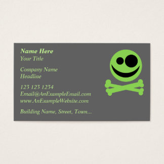 Skull and Crossbones. Green and Black. Business Card